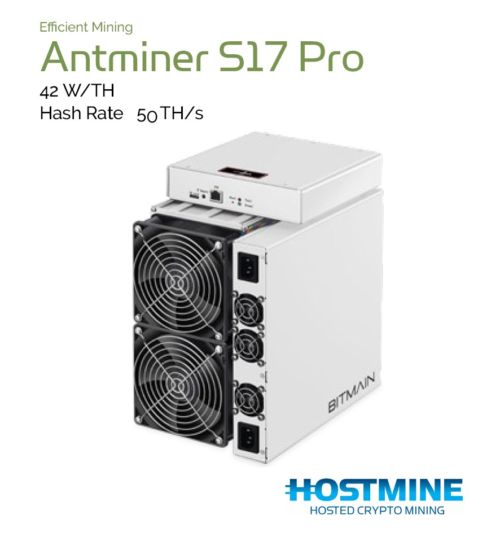 Antminer S17 Pro 50 TH/s | Cryptocoin Miner | Hostmine